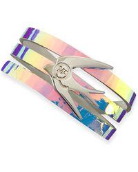 McQ by Alexander McQueen Swallow Hologram Leather Wrap Bracelet - Lyst