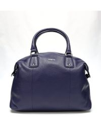 Furla Blue Pebbled Leather Raffaella L Satchel - Lyst