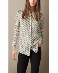 Burberry Absract Floral Print Collarless Silk Shirt - Lyst
