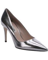 Miu Miu Silver Leather Pointed Toe Pumps - Lyst