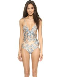 Zimmermann Porcelain Quilted One Piece Swimsuit - Floral - Lyst