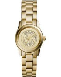 Michael Kors Petite Golden Stainless Steel Runway Three-Hand Glitz Watch - Lyst