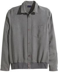 H&M Lyocell Shirt Jacket gray - Lyst