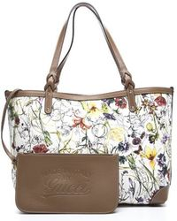 Gucci Preowned Brown Leather Flora Large Tote Bag - Lyst