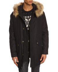 A.P.C. Blue Parka With Removable Fur Hood - Lyst