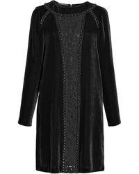 Alberta Ferretti Long Sleeve Velvet Dress - Lyst