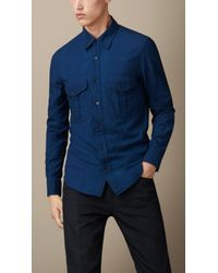 Burberry Slim Fit Denim Shirt - Lyst