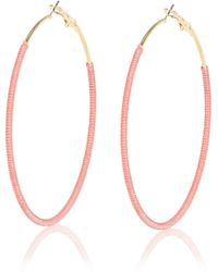 River Island Pink Woven Hoop Earrings pink - Lyst