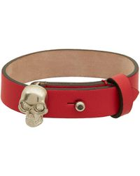 Alexander McQueen Red Skull Leather Bracelet - Lyst