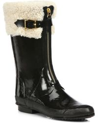 Burberry Sheepcote Shearling Rubber Allweather Boots - Lyst