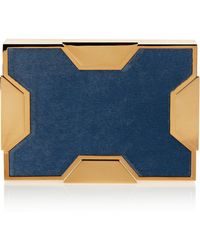 Lee Savage Space Large Goldtone and Calf Hair Box Clutch - Lyst