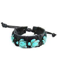 Aeravida - Swimming Turtles Turquoise Stones Leather Pull Slide Bracelet - Lyst