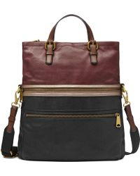 Fossil Explorer Leather Patchwork Tote - Lyst