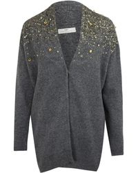 Day Birger Et Mikkelsen Grey Luxen Sequin Embellishment Cardigan - Lyst