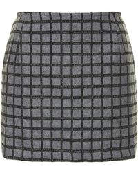 Topshop Embroidered Grid Mini Skirt - Lyst