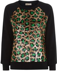 MICHAEL Michael Kors Sequin Leopard Print Sweater - Lyst