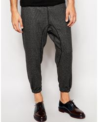 Asos Cropped Skinny Sweatpants in Mini Check with Zip Details - Lyst