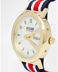 Moschino - Up To Date Canvas Stripe Multi Strap Watch - Lyst