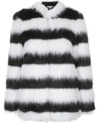 Topshop Monochrome Faux Fur Jacket by Rare - Lyst