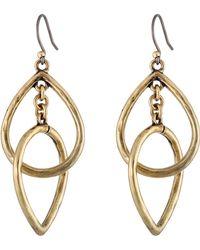 Lucky Brand Gold Double Tearring Drop Earring - Lyst