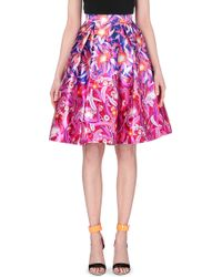 Peter Pilotto Feather-Print Silk-Mikado Skirt - For Women - Lyst