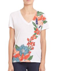 Tory Burch | Printed Cotton Jersey V-neck Tee | Lyst