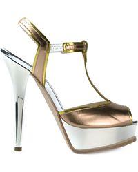 Fendi Peep Toe T-Bar Sandals - Lyst