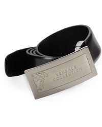 Versace Leather  Engraved Medusa Buckle Belt - Lyst