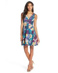 Kaya & Sloane - Floral Jacquard Fit & Flare Dress - Lyst