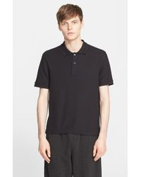ATM Stitched Collar Cotton Pique Polo - Lyst