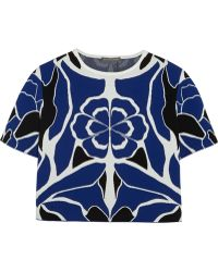 Alexander McQueen Cropped Floral Stretch-Jacquard Top - Lyst