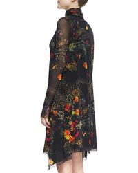 Jean Paul Gaultier Longsleeve Turtleneck Floralprint Dress Brownmulti - Lyst