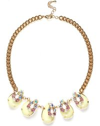 River Island Gold Tone Teardrop Gemstone Repeater Necklace - Lyst