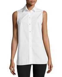 F.t.b By Fade To Blue - Side-slit Sleeveless Blouse - Lyst