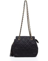 Chanel Preowned Black Canvas and Leather Tassel Chain Vintage Shoulder Bag - Lyst