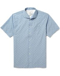Officine Generale Plaid Shortsleeved Cottonchambray Shirt - Lyst