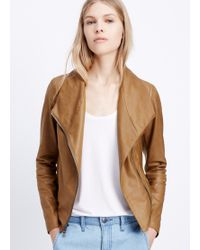 Vince Feather Leather Scuba Jacket - Lyst