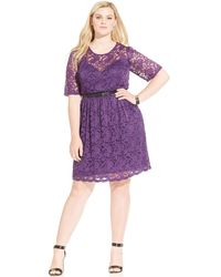 American Rag - Plus Size Short-sleeve Belted Illusion Dress - Lyst
