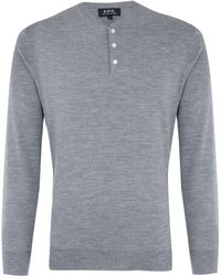 A.P.C. Grey Merino Wool Jumper - Lyst