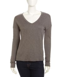 James Perse Vneck Knit Pullover - Lyst