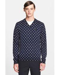 Comme des Garçons Dot Pattern V-Neck Sweater - Lyst