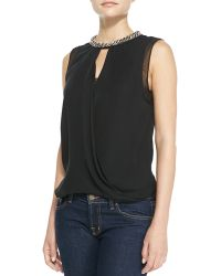 Rebecca Taylor Beadneck Draped Georgette Top - Lyst