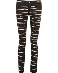 Isabel Marant Orson Zebra Embroidered Twill Skinny Jeans - Lyst