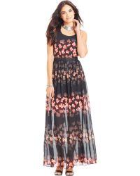 Jessica Simpson Lulu Illusion Maxi Dress - Lyst