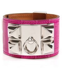 Hermès | Rose Scheheraza De Shiny Alligator Collier De Chien Bracelet | Lyst