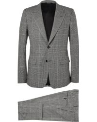 Dolce & Gabbana Grey Slim-fit Prince Of Wales Check Wool-blend Three-piece Suit - Lyst
