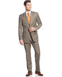 Tommy Hilfiger Tan Plaid Sharkskin Trim-Fit Suit brown - Lyst