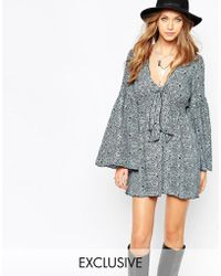 Anna Sui | Exclusive Silk Fluted Sleeve Dress In Ditsy Floral Print | Lyst