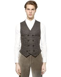 Giorgio Armani Bouclé Wool Blend Jacquard Vest - Lyst