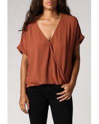 Azalea Mono Overlap Front Kimono Top brown - Lyst
